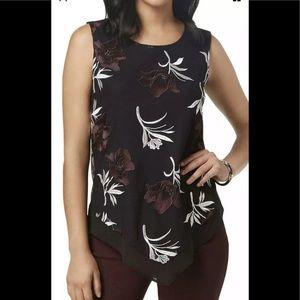 Alfani Black Floral Embroidered Sleeveless Top XXL